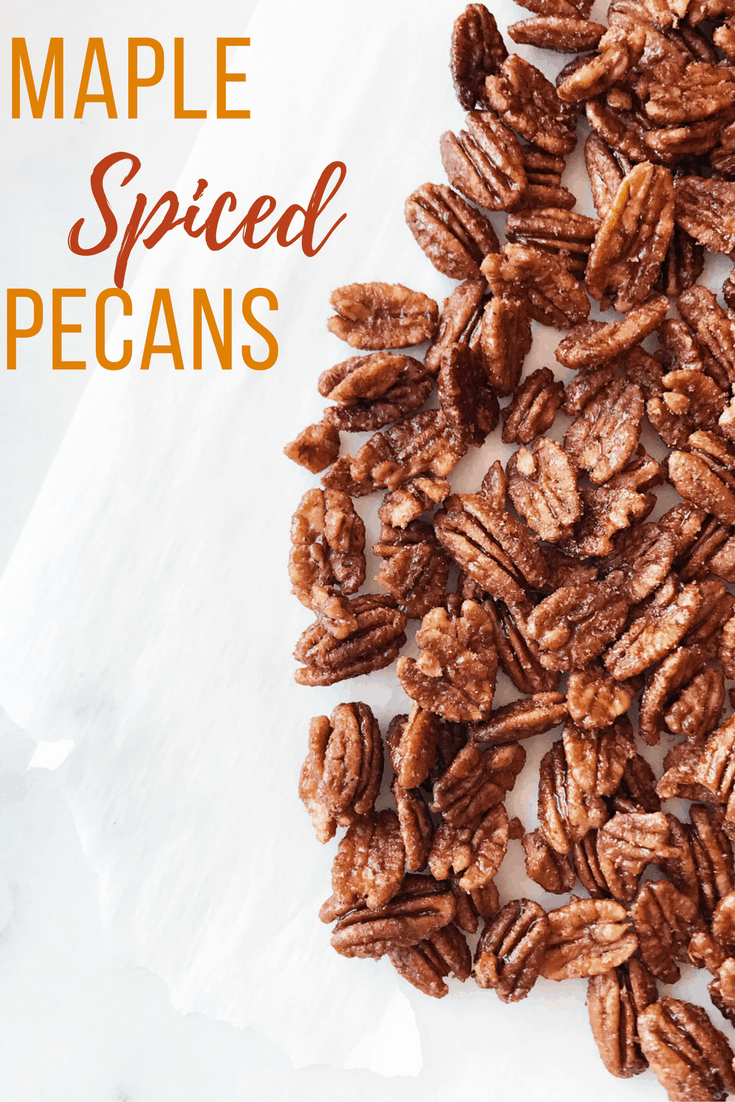 A quick and easy holiday recipe, these maple spiced pecans are great as gifts or a snack you keep all to yourself. They only take about 20 min from start to finish!