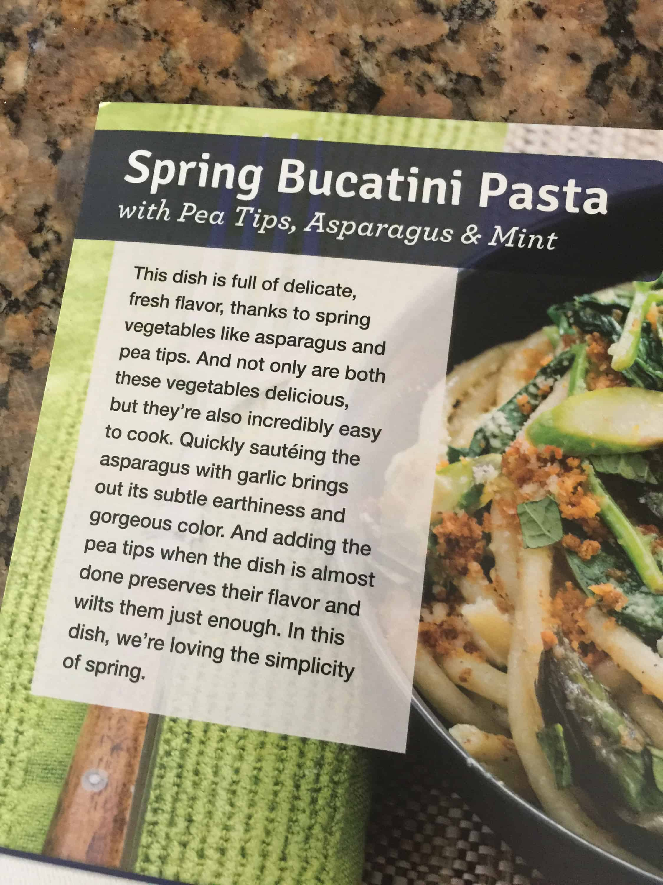 Blue apron working conditions - Spring Bucatini Pasta W Pea Tips Asparagus Mint
