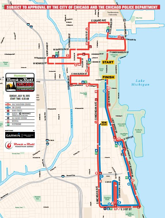 Chicago RnR Half Marathon Map