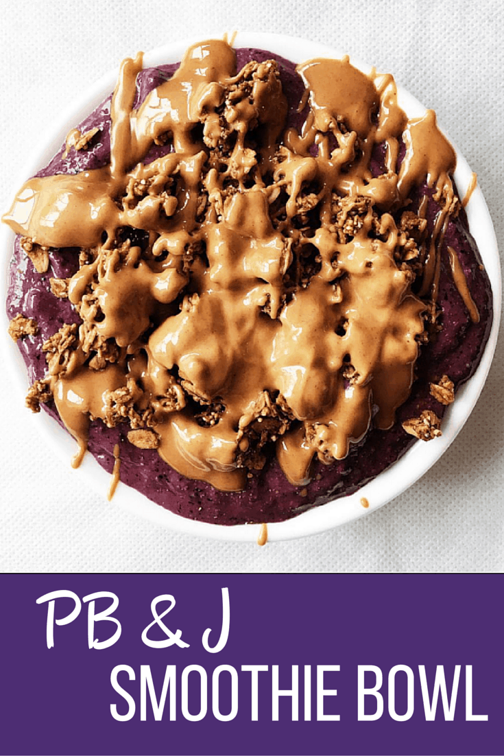 Super fast and super healthy  PB & J Smoothie Bowl full of nutrients and amazing flavor! Satisfy your sweet tooth in 5 minutes!