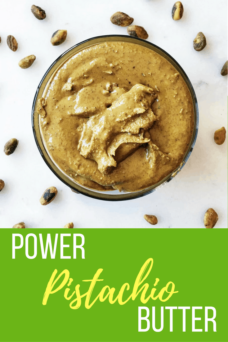 Homemade pistachio butter with added protein from Vital Proteins collagen peptides. SUPER fast, delicious, and a great alternative to have on hand!