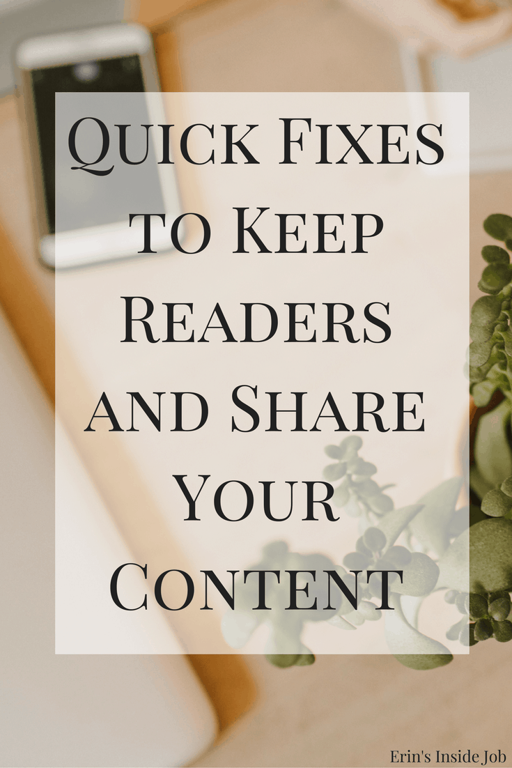 As a blogger and a reader of blogs, it's hard for me to see some of the same things over and over again on other blog posts. Here are some quick fixes to keep readers and share your content!