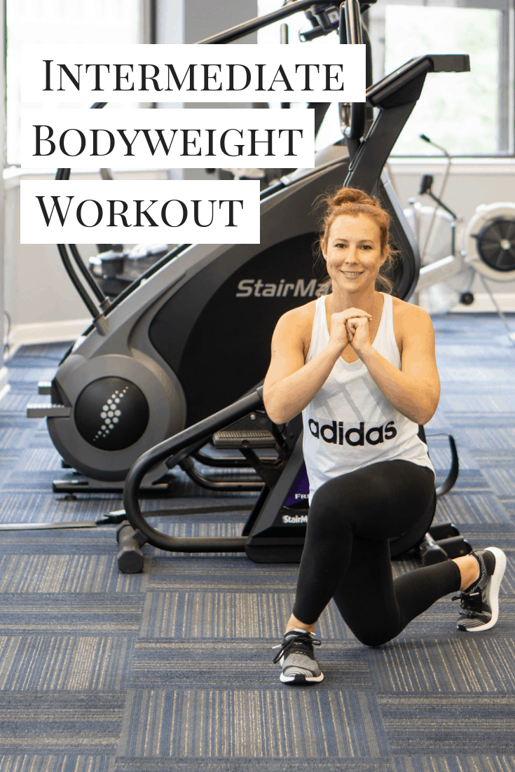 A bodyweight workout that can be ramped up or modified for different fitness levels. Do as is for a sweaty 30 minutes! #bodyweightworkout #workout #intermediateworkout #workoutathome #fitness #exercise