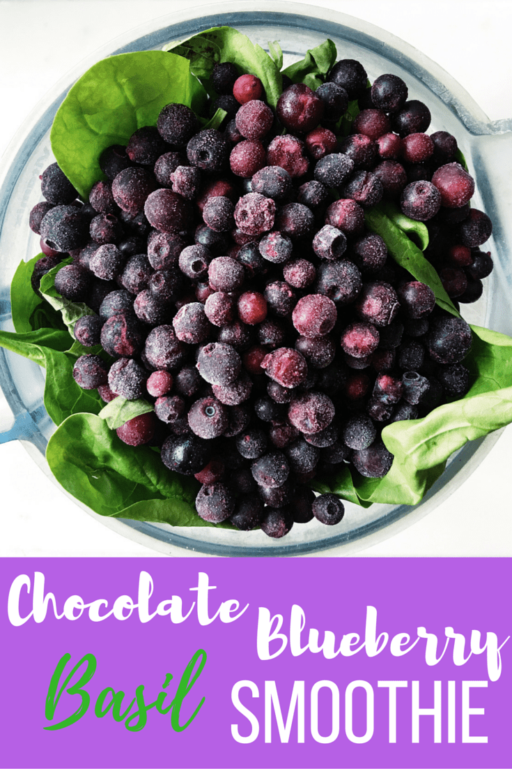Quick and refreshing chocolate blueberry basil smoothie. Enjoy on a warm summer day or any time of year!