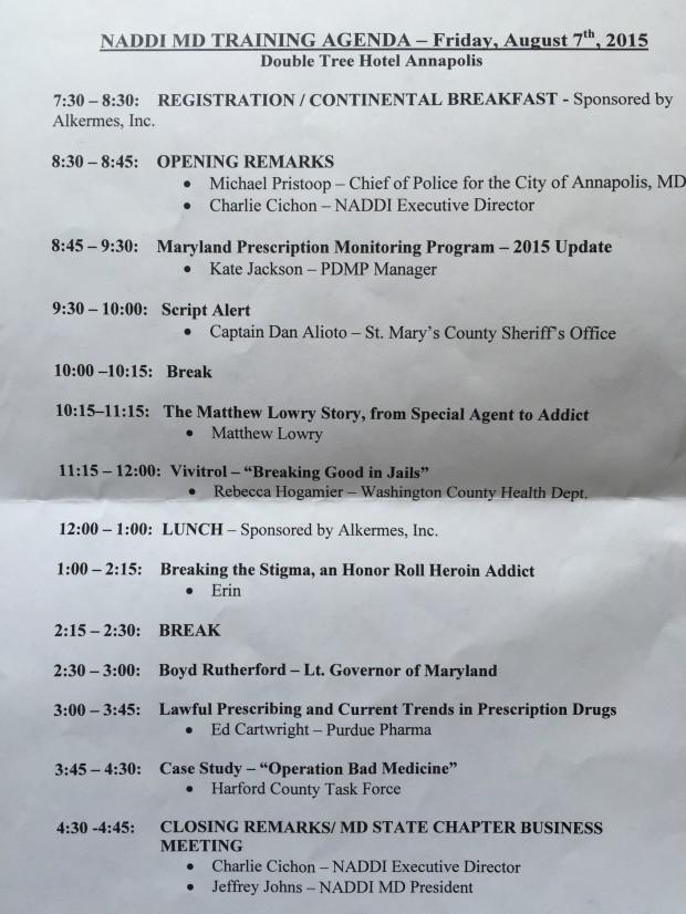 NADDI Training Agenda