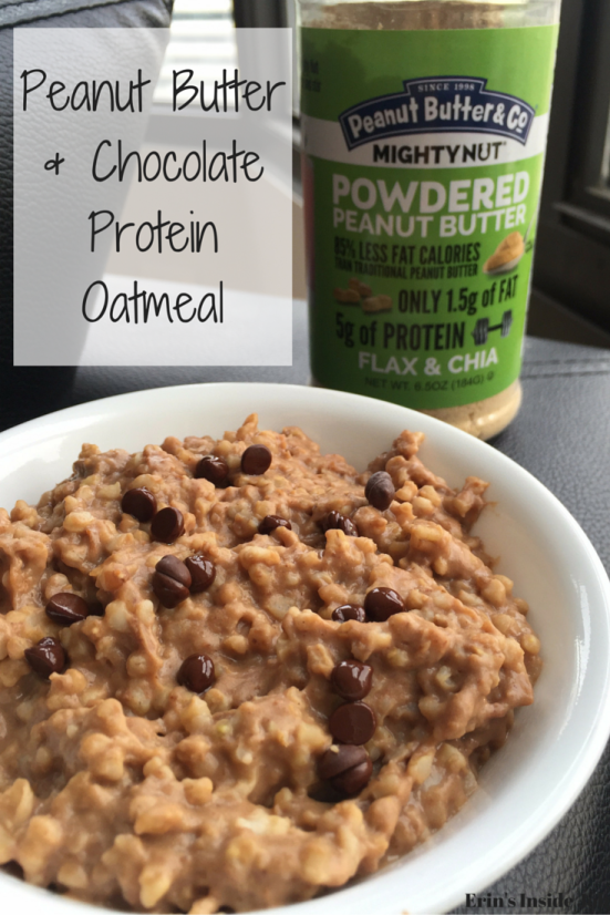 Looking for a delicious snack or healthy breakfast? Check out this powdered peanut butter and chocolate protein oatmeal using Mighty Nut! The addition of protein powder plus the flax and chia from the Mighty Nut powdered peanut butter lead to a delicious, yet HEALTHY breakfast of champions! #ad