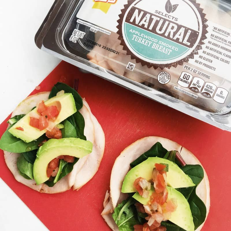 Quick and easy turkey roll-up recipe using Oscar Mayer Selects Natural Applewood Smoked Turkey. Balanced snack for any eating plan!