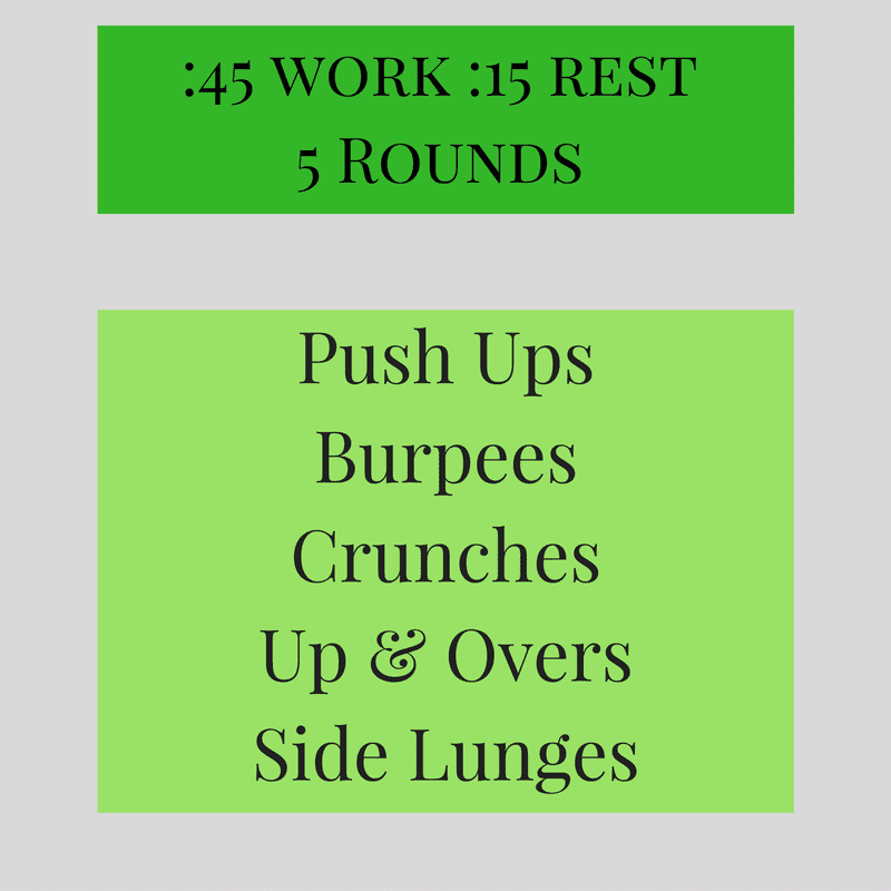5 rounds of -45 work -15 rest