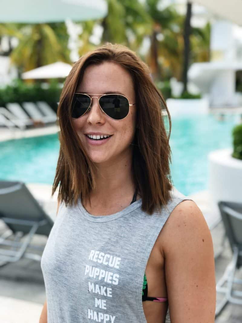 pool miami girl in sunglasses