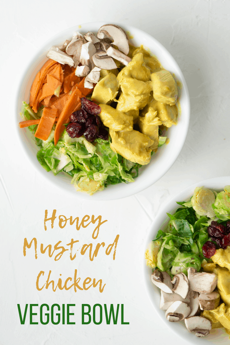 A quick and easy honey mustard veggie bowl that you can throw together in no time! #veggiebowlrecipe #honeymustard #chickenrecipe #fallchickenbowl