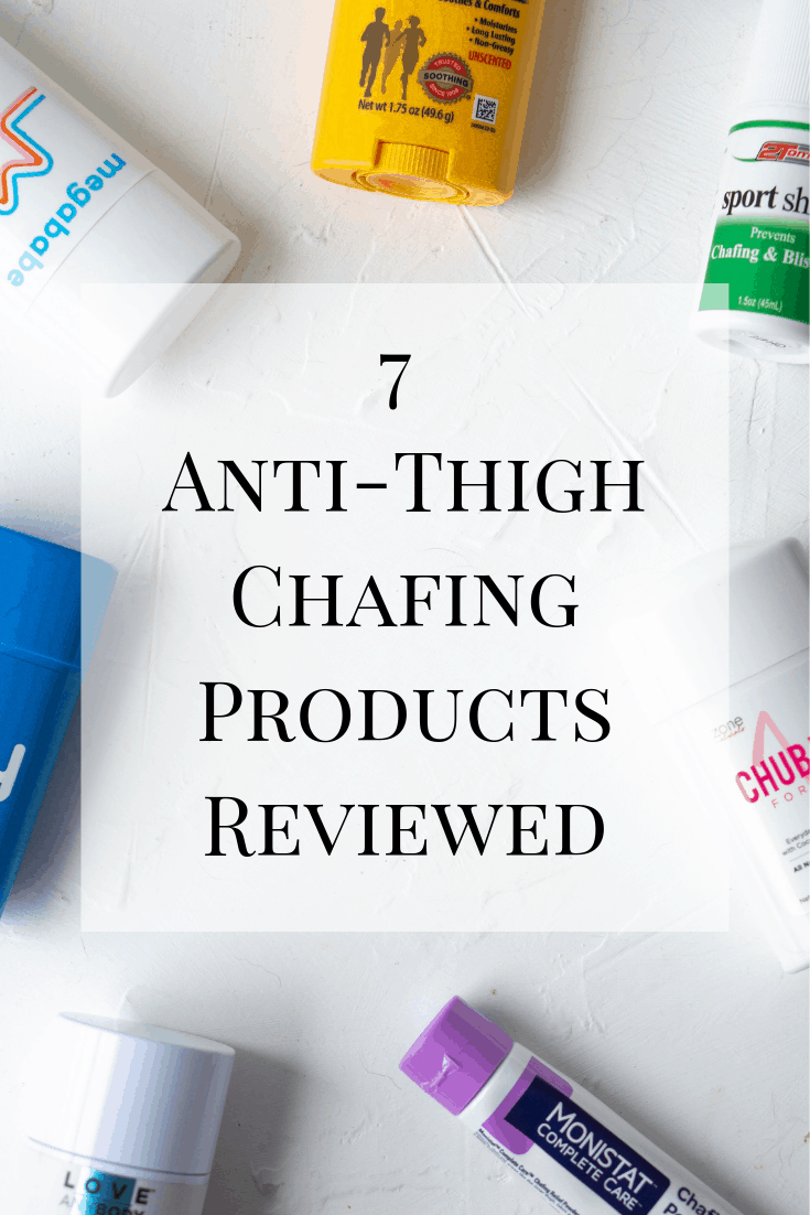 A review of the most popular anti-thigh chafing products to help with summer irritation. #chafing #antichafing #thighchafing #antichafingreview