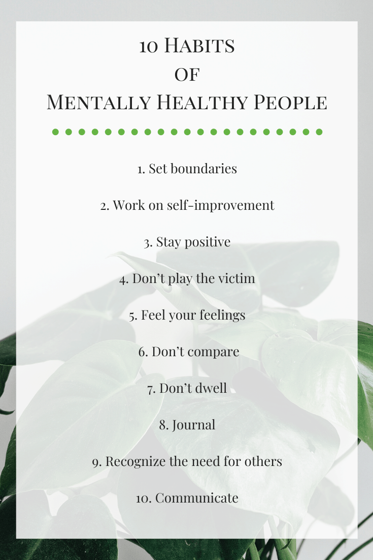 Infographic list of habits of mentally healthy people